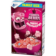 General Mills Franken Berry Strawberry Frost Sweet Halloween Breakfast Cereal with Monster Marshmallows: Family Size - 1 Box (17 oz)