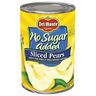 Del Monte Canned Bartlett Sliced Pears in Water, Artificially Sweetened, No Sugar Added, 14.5-Ounce (Pack of 12)